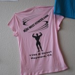 Women pink t-shirt logo on back